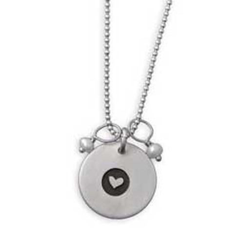 Matte Symbol Disc Necklace with Stones