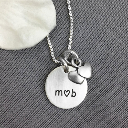 Silver hand stamped Me and You Necklace with initials