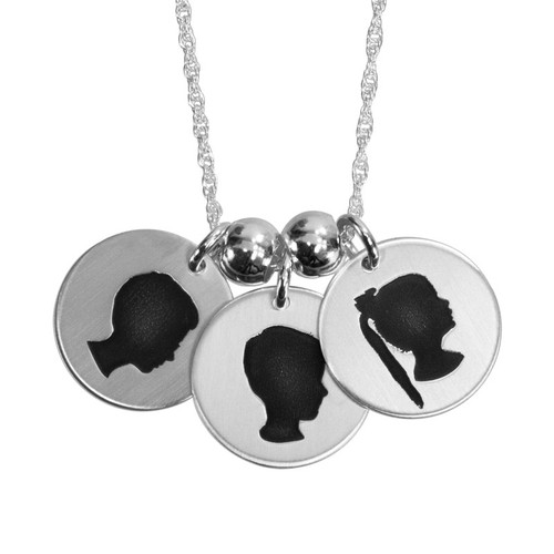 Custom My Child's Cameo Necklace in sterling silver personalized with children's actual photos, shown on white
