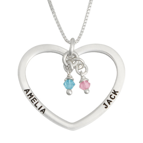 Open Heart Charm Silver Necklace, personalized with hand stamped names Amelia & Jack, shown with birthstones, close up on white