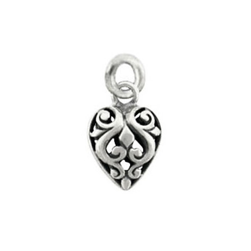 Sterling silver puffed heart scroll to add to any necklace