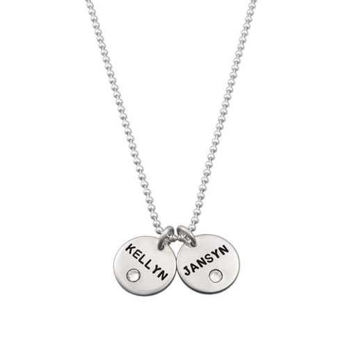 Silver Disc with Crystal Birthstone Necklace, personalized with hand stamped kids' names in block upper font, shown on white