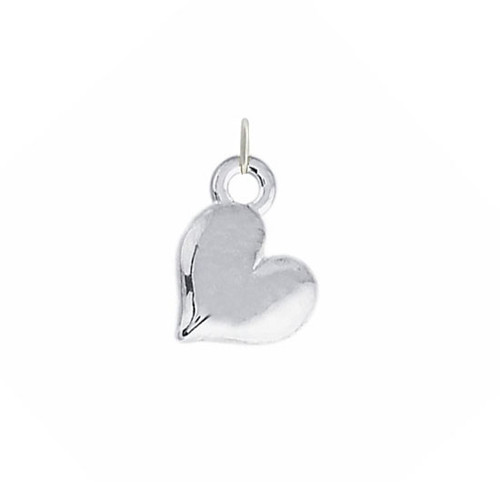 silver Small Sideways Heart Charm, shown on white