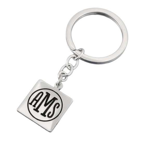 Personalized Silver Square Monogram Key Ring, customized with your monogrammed initials, shown on white