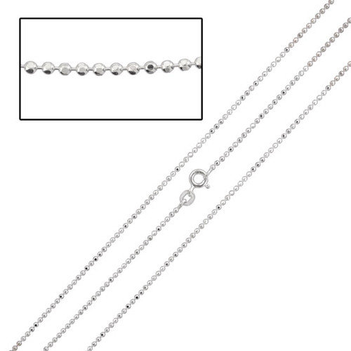 Sterling Diamond-Cut Fine Ball Chain