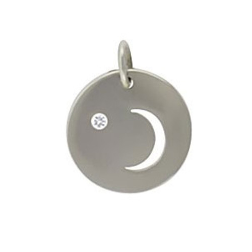 Sterling Moon Cutout with Diamond