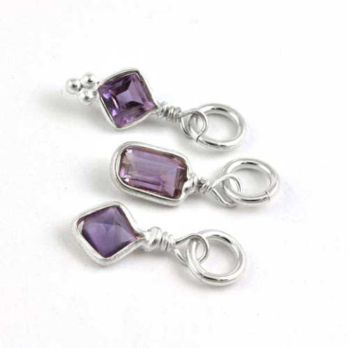 Sterling Wrapped Stone - Amethyst Crystal (Feb)