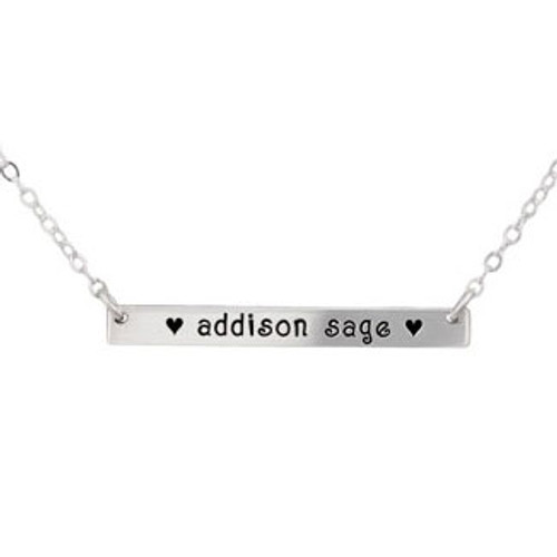 Custom Bar Name Necklace, personalized hand stamped silver necklace with  kids names, shown close up on white
