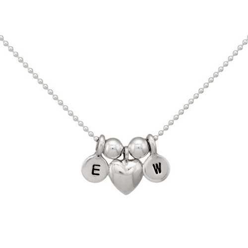 Tiniest Initials with Puffed Heart Necklace