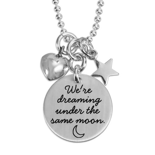 Stamped Under the Same Moon Necklace, with silver heart and star charms on silver chain
