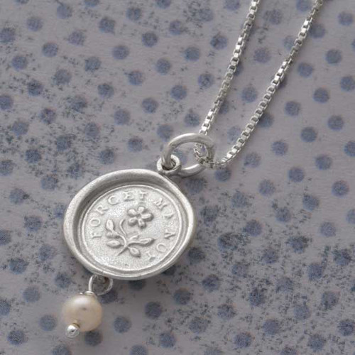 Wax Seal Necklace - Forget Me Not