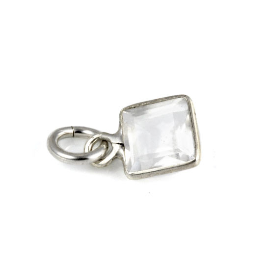 Medium Square White Topaz Sterling Wrapped Stone