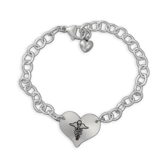 Hand Stamped medic alert bracelet shown from the top