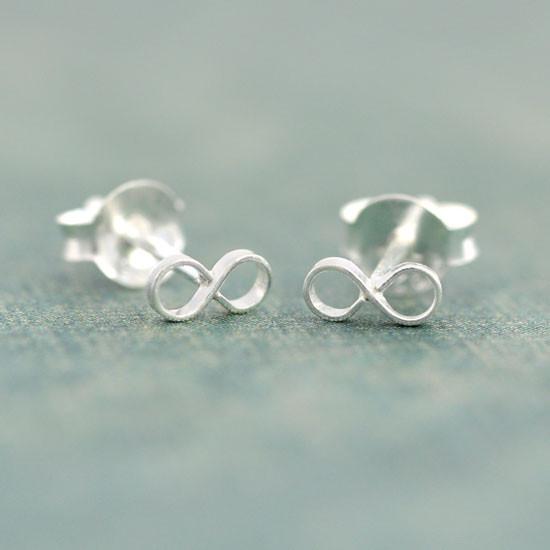 Tiny Silver Infinity Earrings