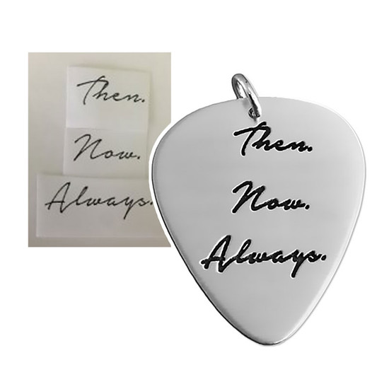 Custom sterling silver guitar pick personalized with your loved one's actual handwriting, shown on white