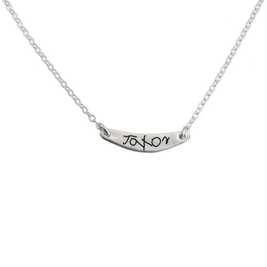 Custom silver arc personalized handwriting necklace, shown on white