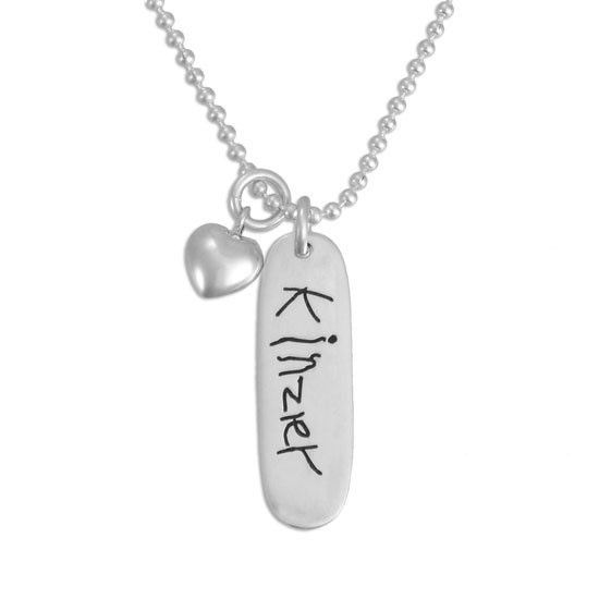 Custom Silver Handwriting Mom Tag Necklace, personalized with child's handwritten signature, with silver puffed heart charm