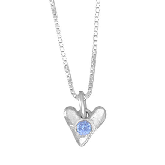 Sculpted Hearts Birthstone Necklace