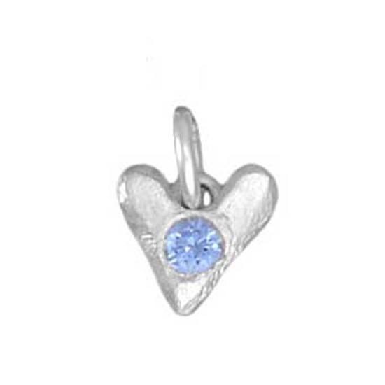 Sculpted Hearts Birthstone Charm in fine silver, close up showing birthstone