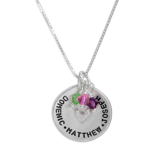 Custom hand stamped mom necklace in fine pewter, shown with birthstones for the kids names