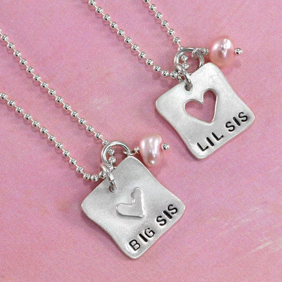 Hand stamped sister necklace set