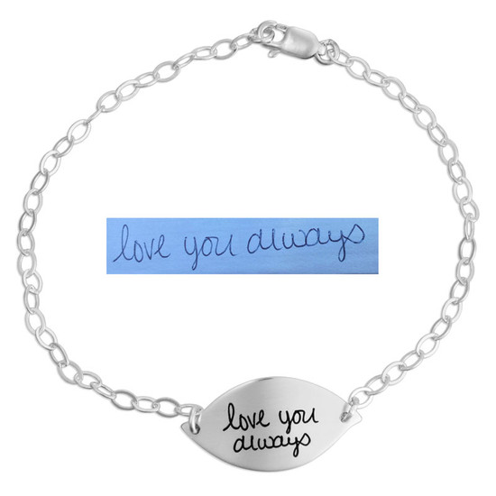 Custom sterling silver handwriting Petal Bracelet, personalized with handwritten note from loved one, shown with the original handwriting used to create it