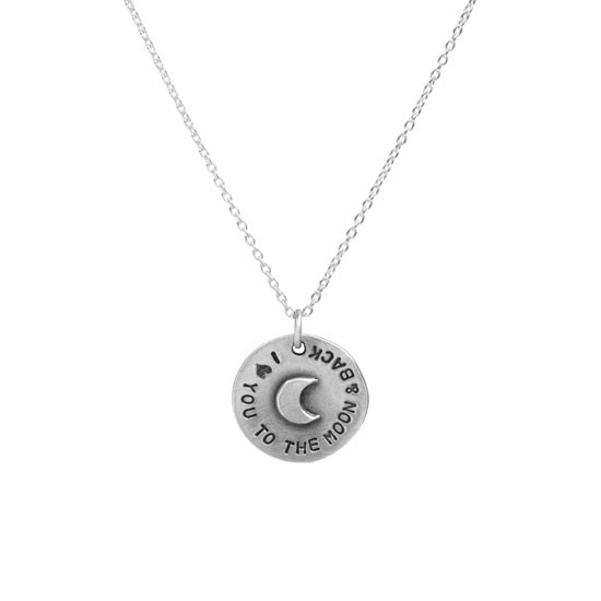 Hand stamped to the moon pendant with raised moon on white