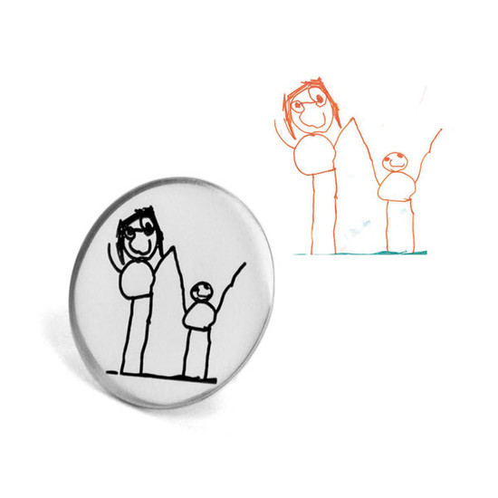 Custom silver golf ball marker with child's artwork