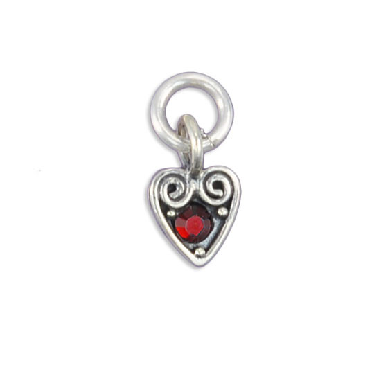 Heart swirl charm with birthstone