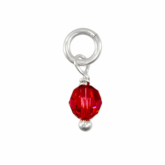 Red Swarovski Crystal Round Birthstone, shown on white