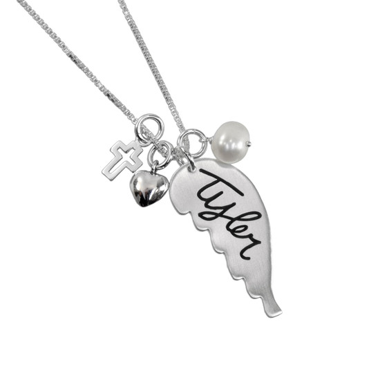 Custom Silver Handwriting Memorial Angel Wing Necklace, shown close up with puffed silver heart and cross