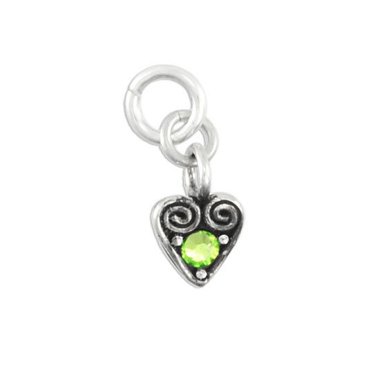 Silver Heart with August Swarovski birthstone
