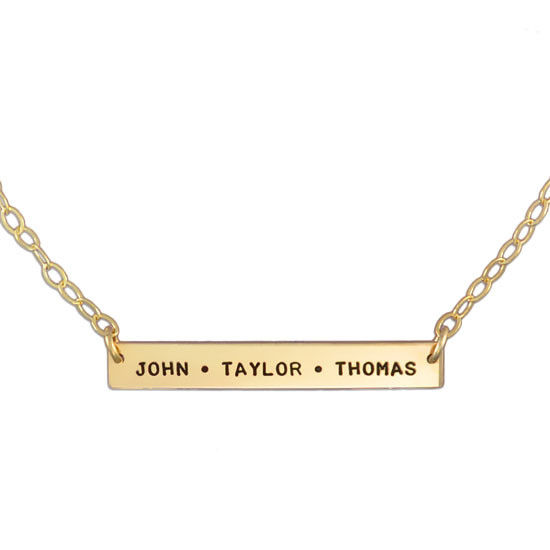 Personalized hand stamped gold bar necklace