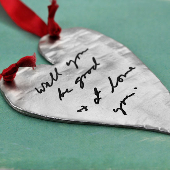 Your handwriting on an fine pewter Christmas ornament, shown from the side