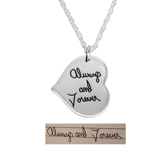 """Silver Handwriting on a heart charm,  personalized with husband's actual handwriting  """"Always and Forever"""", shown on white"""