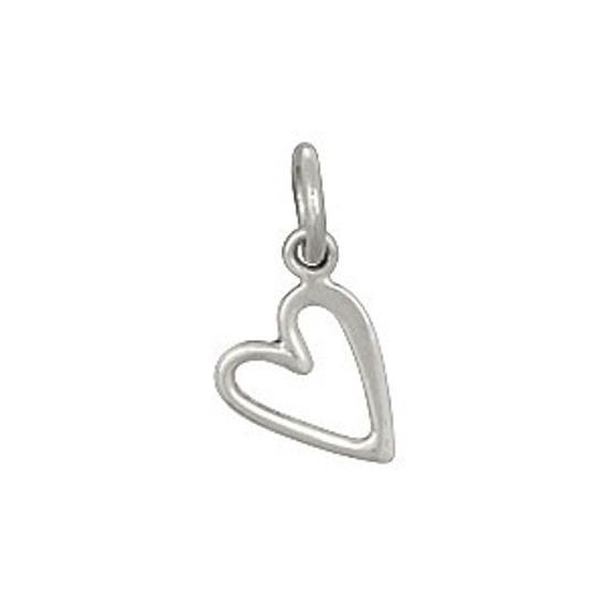 Cute silver sideways open heart charm to add to necklaces or bracelets