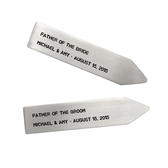 Hand stamped collar stays for groom