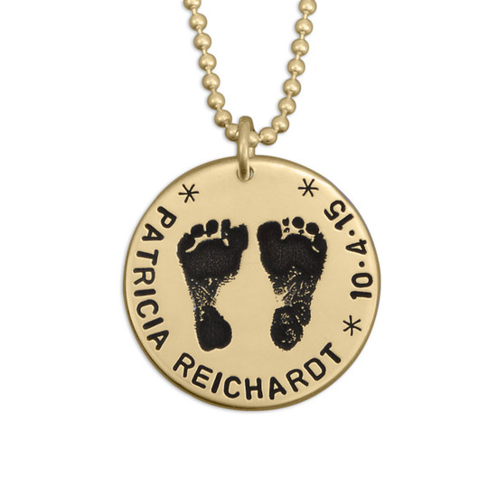 Custom footprints necklace in gold with hand stamped child's name and birth date