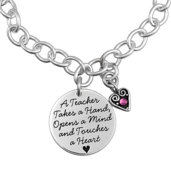 Close up of custom Silver Teacher Saying Charm Bracelet, personalized with silver heart birthstone charm, shown on white