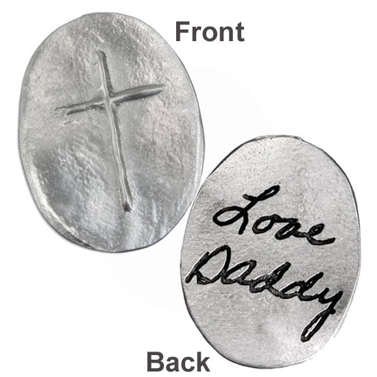 Front & back of custom fine pewter pocket token, personalized with handwritten note on back of the token