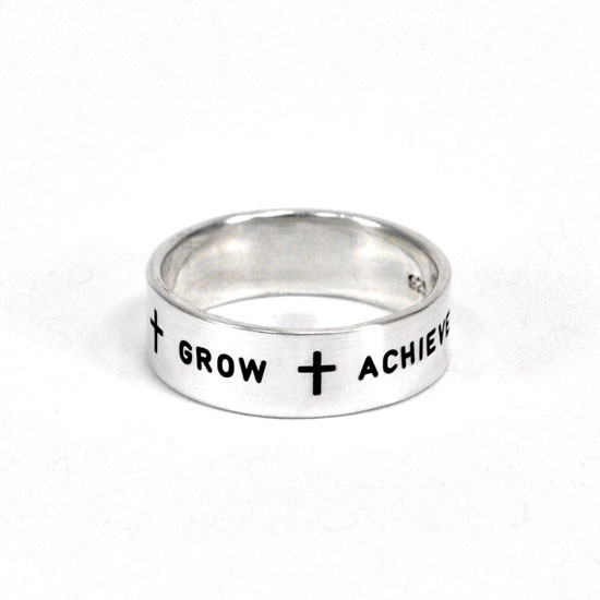 Believe Grow Achieve customized sterling silver Ring