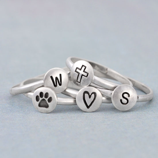 Hand stamped droplet ring with cross