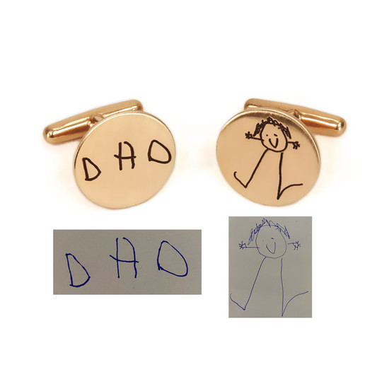 Custom cuff links for dad, personalized with child's handwriting  and drawing, made in bronze, with original drawings