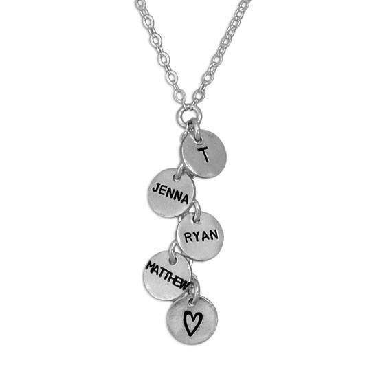 Custom Thai silver charm cascade necklace, personalized with hand stamped kids names, shown close up on white