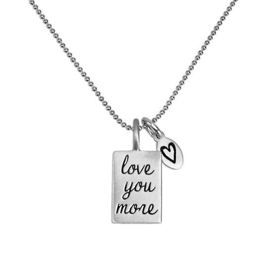 Love you more silver necklace on fine ball chain