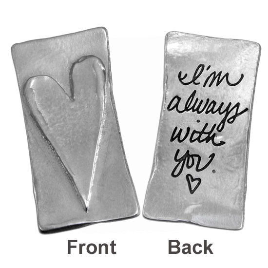 Your handwriting on a fine pewter pocket charm with a raised heart, shown on white