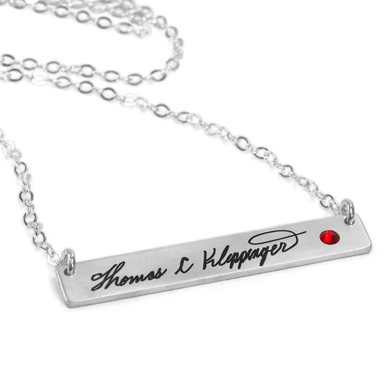 Silver Handwriting bar memorial necklace with actual handwritten signature, with embedded birthstone
