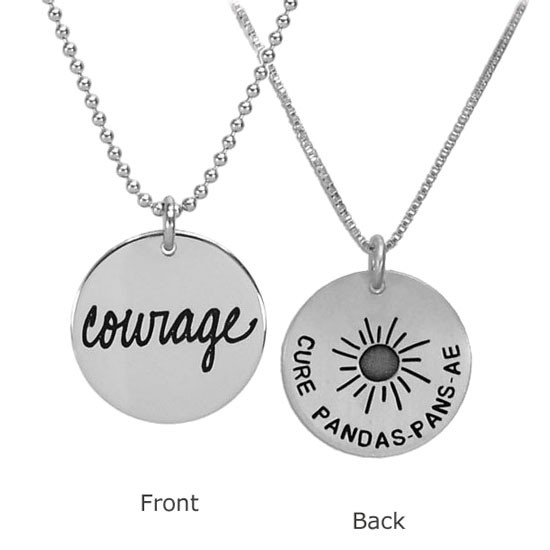 Silver Cure for PANDAS necklaces, showing front and back together on white