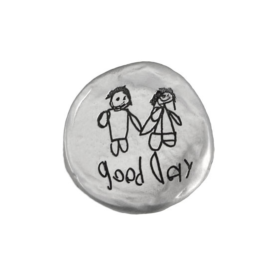 Mothers Day gift with child's handwriting and artwork on a fine pewter pocket charm. shown on white