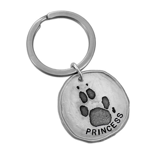Custom paw print pewter key ring, made with your pet's actual paw print